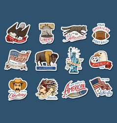 Native american stickers old labels or badges vector