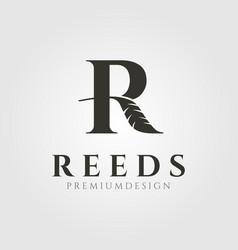 Nature reeds cattail letter r logo symbol design vector