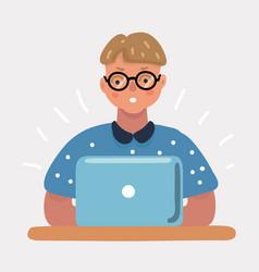 nerd geek boy with laptop vector image