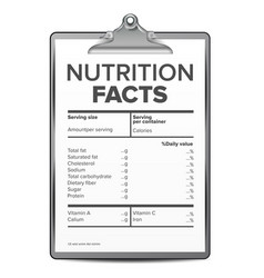 nutrition facts blank template diet vector image