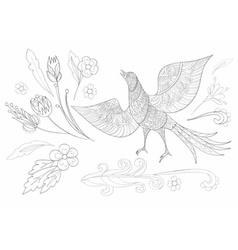 Ornate fantasy bird vector