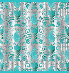 Paisley seamless pattern silver floral vector