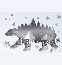 paper art of forest lanscape snow with polar bear vector image