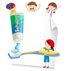 Paper design with children and toothbrush vector image