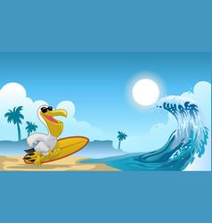 pelican surfer on beach vector image