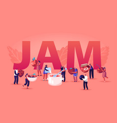 people cooking jam concept characters pouring vector image