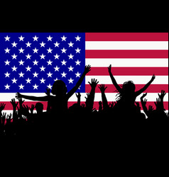 people silhouettes celebrating usa national day vector image