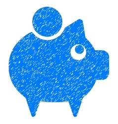 Piggy Bank Grainy Texture Icon vector image