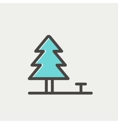 Pine tree thin line icon vector image