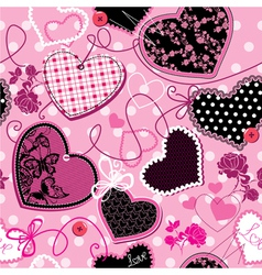 Pink and black Hearts - seamless pattern vector