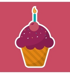 Pink cupcake chips with cherry candle birthday vector