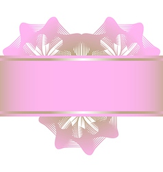 Pink lowers in the form of heart and ribbon vector