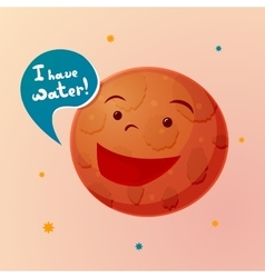 Planet Mars with cartoon face vector image