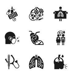 Pneumonia disease icon set simple style vector