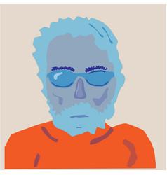 Portrait man in blue orange colours vector
