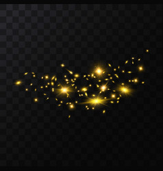 realistic detailed 3d golden star light sparkles vector image