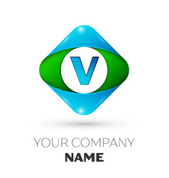 Realistic letter v logo in colorful rhombus vector