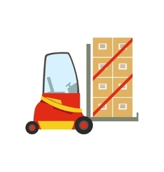 Red Forklift Warehouse Car Lifting The Paper Box vector image