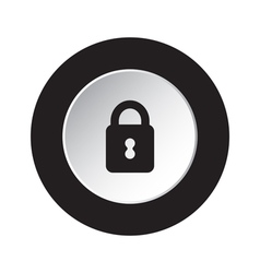 round black and white button - closed padlock icon vector image