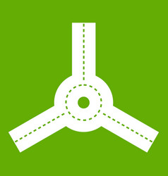 Roundabout icon green vector