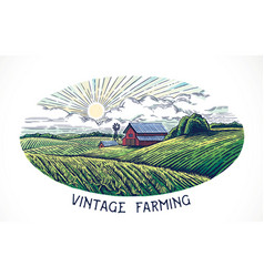 Rural landscape in engraving and vintage style vector