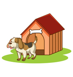 scene with little dog dog house vector image
