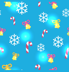 seamless blue pattern with christmas decorations vector image