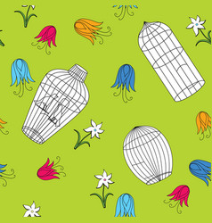 seamless pattern different cages and flowers vector image