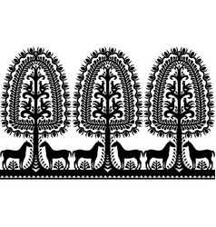 seamless polish folk art black pattern vector image