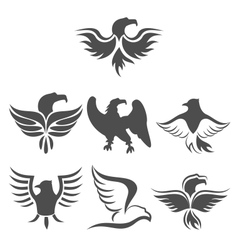 set icon of eagles symbol isolated on white vector image vector image