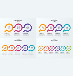set of timeline infographic templates with vector image