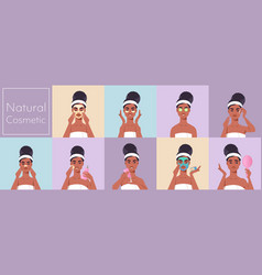 Set young woman applying face mask dressed vector