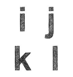 Sketch font set - lowercase letters i j k l vector
