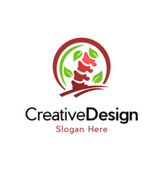 Spine chiropractic naturally creative business log vector