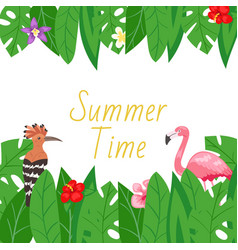 summer tropical jungle plants flowers and birds vector image