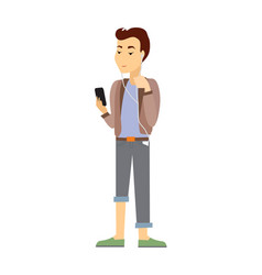Teenager with gadgets flat vector