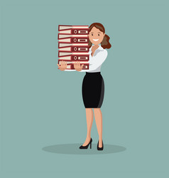 the employee carries a large stack of papers and vector image