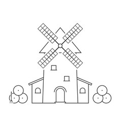 Thin line windmill with haystacks vector