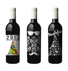 Three labeled wine bottles isolated vector image