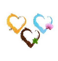 Three liquid hearts chocolate honey and water vector