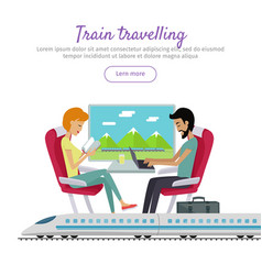 Train traveling banner vector