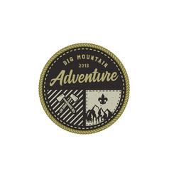 Traveling outdoor badge big mountain adventure vector