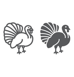 Turkey bird line and glyph icon animal and farm vector