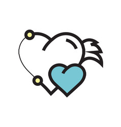 Twins hearts wings pen tool design blue vector