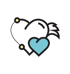 Twins hearts wings pen tool design blue vector