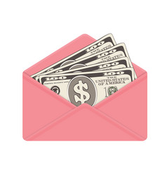 usa banking currency in open pink envelope one vector image