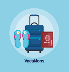 Vacations travel bag with handle on wheels vector