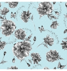 Vintage monochrome watercolor seamless pattern vector image