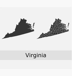 Virginia map counties outline vector