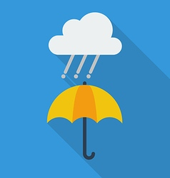 Weather Flat Icon Rainy and umbrella vector